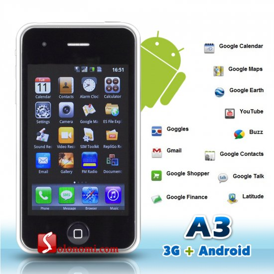 MiPhone A3 3G Google Android 1.5 Smart Phone with GPS, WiFi, and 3 MP Camera