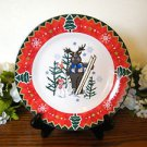 Montgomery Ward Salad Plate Country Pals Moose  Holiday Christmas