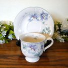 Mikasa Lyric Blue Garden Cup and Saucer Floral Flowers