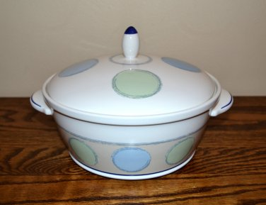 Noritake Java Blue 2 1/2 Quart Covered Casserole Polka Dots