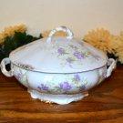 Haviland Round Covered Serving Dish Brushed Gold Purple Flowers  Mark 99