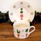 Gibson Topiary Rooster Cup and Saucer
