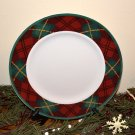 Block Father Christmas Dinner Plate Plaid