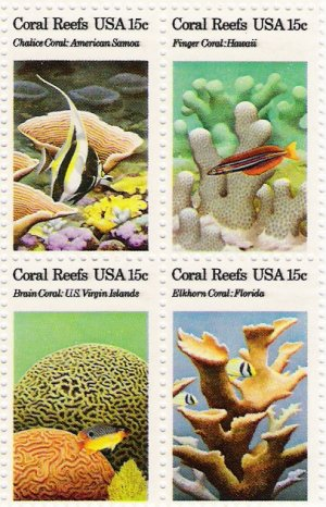 US Scott 1830a - Block of 4 - Coral Reefs 15 cent - Mint Never Hinged