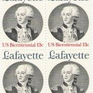 US Scott 1716 - Block of 4 - Lafayette - 13 cent Mint Never Hinged
