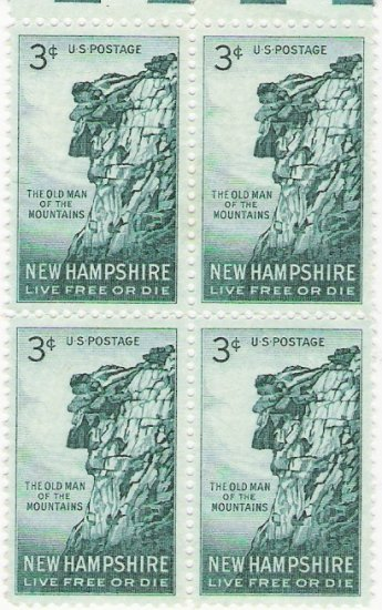 US Scott 1068 - Block of 4 - New Hampshire - 3 cent