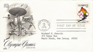 US Scott 1696 - First Day Cover - 1976 Olympics Skiing
