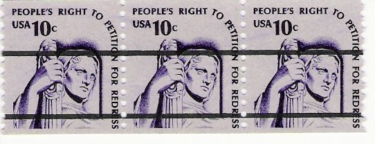Scott # 1592a PreCanceled - Strip of 3 - Justice - Mint Never Hinged