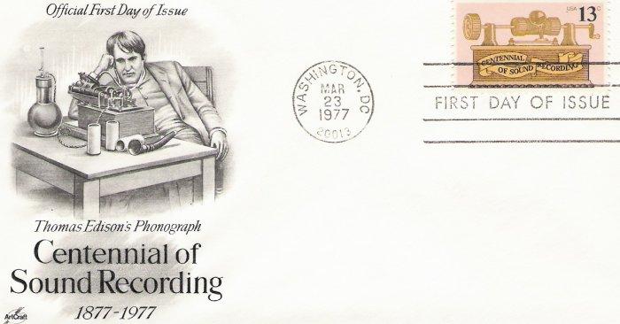 US Scott 1705 - First Day Cover - Sound Recording Centennial