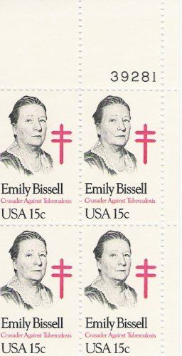 US Scott 1823 - Plate Block of 4 - Emily Bissell - Mint Never Hinged - 15 cent