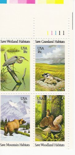 US Scott 1924a - Plate Block of 4 - Wildlife - Mint Never Hinged - 18 cent