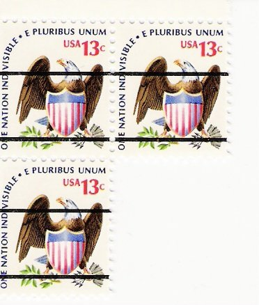 US Scott 1596x PreCanceled - Block of 3 - Eagle and Shield - 13 cent - Mint Never Hinged