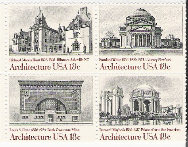 US Scott 1931a (198 1929 1930 1931) - Block of 4 - American Architecture 18 cent - Mint Never Hinged