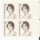US Scott 1822 - Block of 4 - Dolley Madison 15 cent - Mint Never Hinged