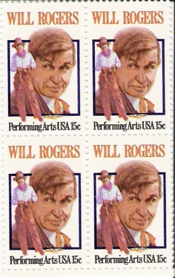 US Scott 1801 - Block of 4 - Will Rogers 15 cent - Mint Never Hinged