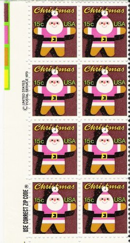 US Scott 1800 - Zip Block of 8 - Christmas 1979 Santa Claus 15 cent - Mint Never Hinged