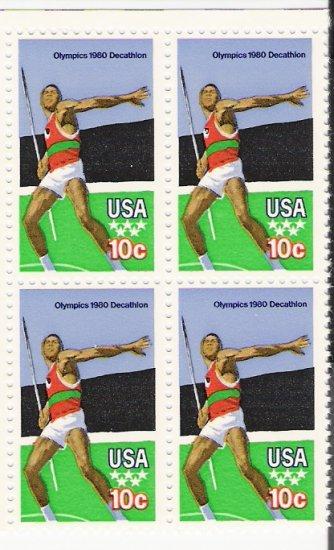 US Scott 1790 - Block of 4 - 1980 Summer Olympics Javelin 10 cent - Mint Never Hinged