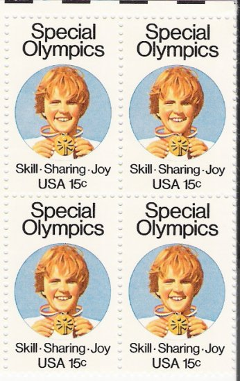US Scott 1788 - Block of 4 - Special Olympics 15 cent - Mint Never Hinged