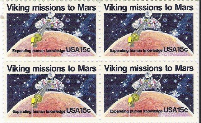 US Scott 1759 - Block of 4 - Viking Missions 15 cent - Mint Never Hinged