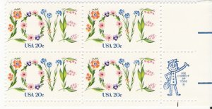 US Scott 1951A - Zip Block of 4 - LOVE - 20 cent - Mint Never Hinged