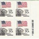 US Scott 1894 - Zip Block of 4 - Flag over Court - 20 cent- Mint Never Hinged
