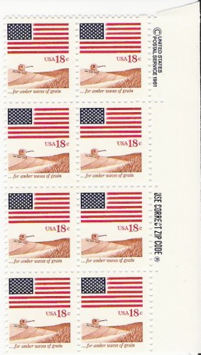 US Scott 1890 - Zip Block of 8 - Flag and Anthem - 18 cent - Mint Never Hinged