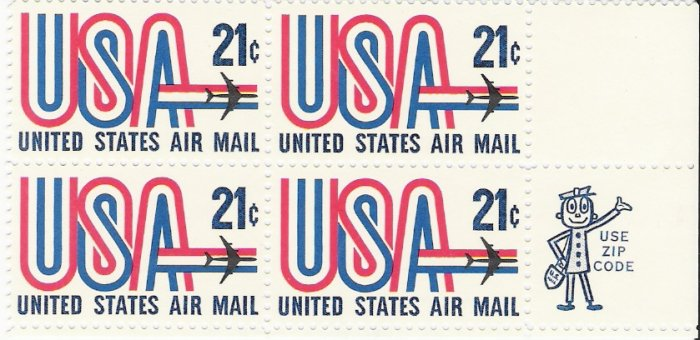 US Scott C81 - Zip Block of 4 - USA and Jet 21 cent  - Mint Never Hinged