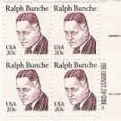 US Scott 1860 - Zip Block of 4 - Ralph Bunche 20 cent - Mint Never Hinged