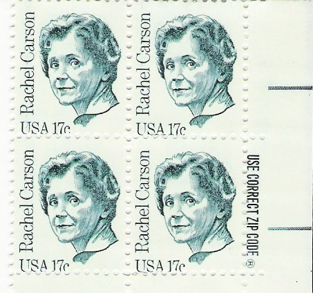 US Scott 1857 - Zip Block of 4 - Rachel Carson 17 cent - Mint Never Hinged