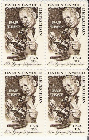 US Scott 1754 - Block of 4 - Cancer Detection 13 cent - Mint Never Hinged