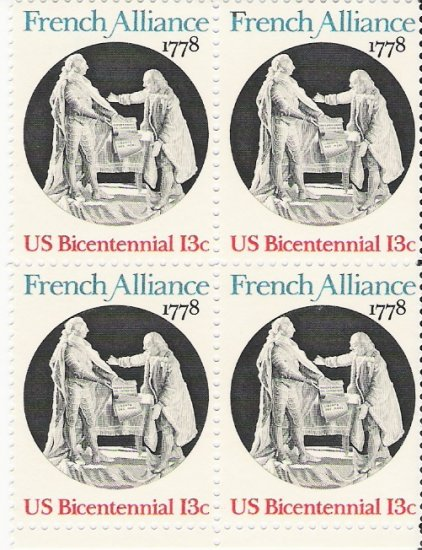 US Scott 1753 - Block of 4 - French Alliance 13 cent - Mint Never Hinged
