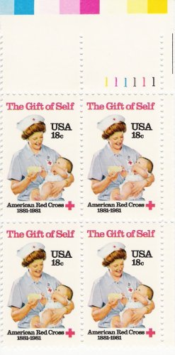 US Scott 1910 - Plate Block of 4 - American Red Cross - Mint Never Hinged - 18 cent