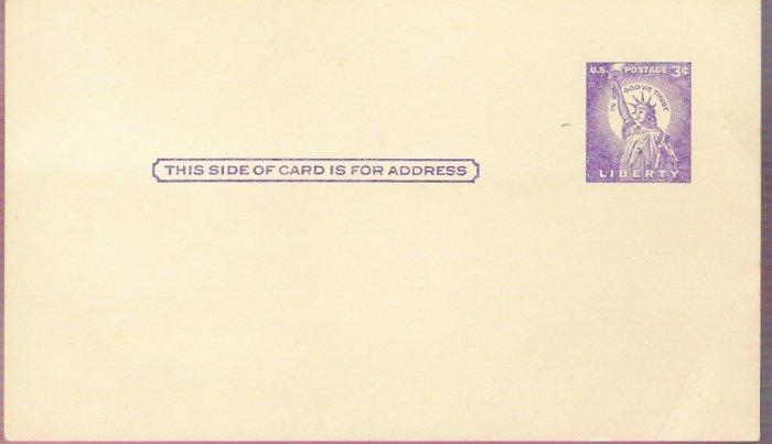 1958, US Scott UX46, 3-cent Post Card, Statue of Liberty, Unused