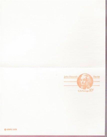 1978, US Scott UX75, DOUBLE 10-cent Post Card, John Hancock, Mint