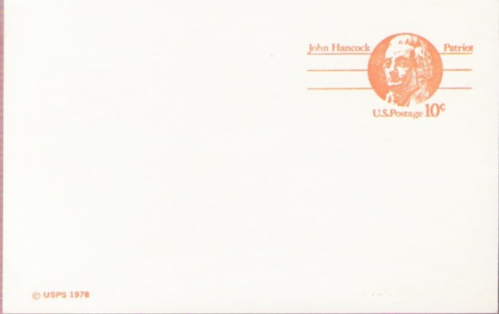 1978, US Scott UX75, 10-cent Post Card, John Hancock, Mint