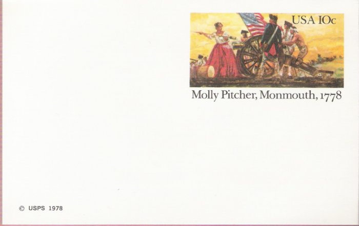 1978, US Scott UX77, 10-cent Post Card, Molly Pitcher, Monmouth, 1778, Mint