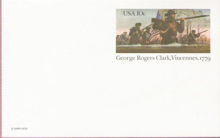 1979, US Scott UX78, 10-cent Post Card, George Rogers Card, Vincennes, 1779, Mint