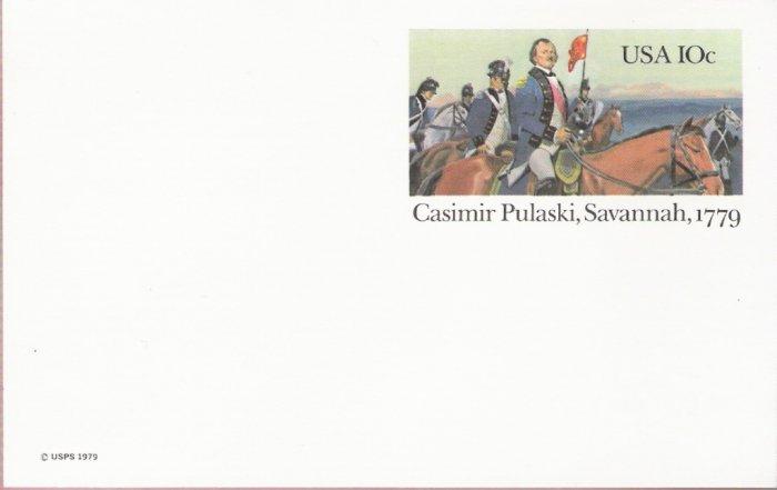 1979, US Scott UX79, 10-cent Post Card, Casimir Pulaski, Savannah, 1779, Mint