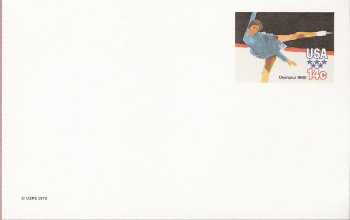 1980, US Scott UX82, 14-cent Post Card, 1980 Olympics, Figure Skating, Mint