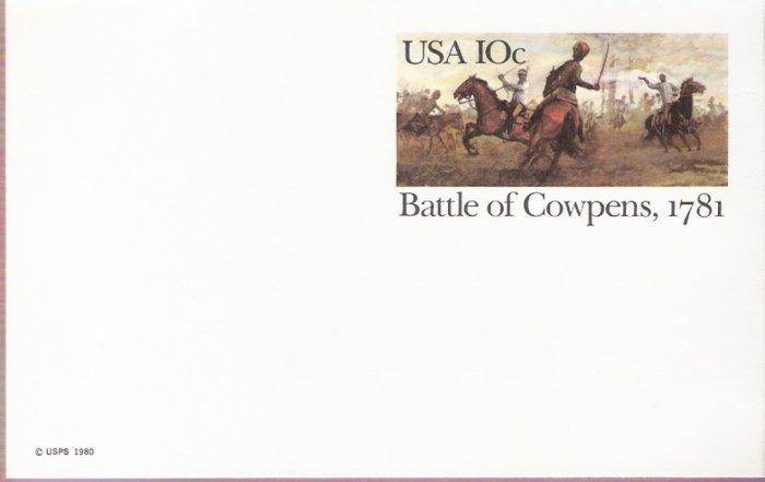 1981, US Scott UX87, 10-cent Post Card, Battle of Cowpens, 1781, Mint