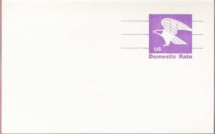 "1981, US Scott UX88, 12-cent """"B"""" """"Domestic Rate"""" Post Card, Eagle, Mint"