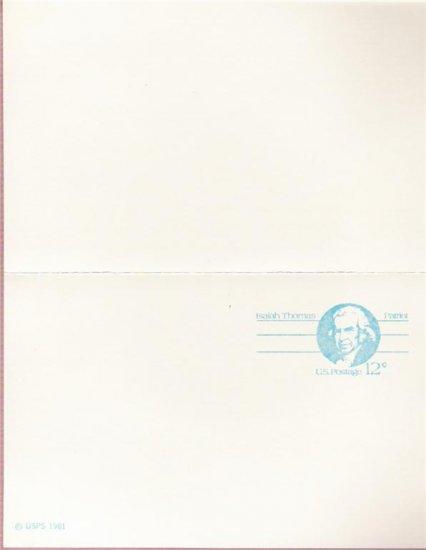 1981, US Scott UX89, DOUBLE 12-cent Post Card, Isaiah Thomas, Mint