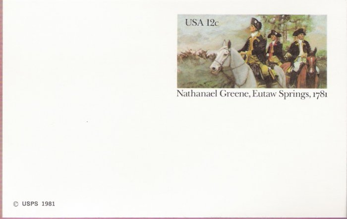 1981, US Scott UX90, 12-cent Post Card, Nathaniel Greene, Eutaw Springs, 1781, Mint