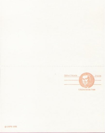 "1981, US Scott UX92, DOUBLE 13-cent """"Domestic Rate"""" Post Card, Robert Morris, Mint"