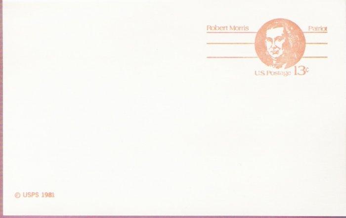 1981, US Scott UX93, 13-cent Post Card, Robert Morris, Mint