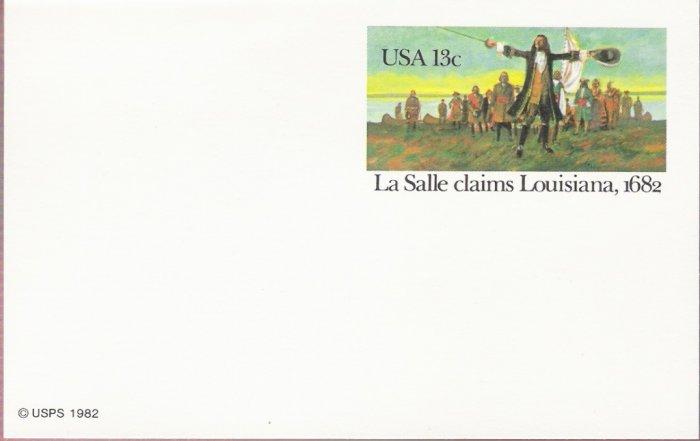 1982, US Scott UX95, 13-cent Post Card, La Salle claims Louisiana, 1682, Mint