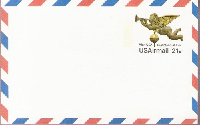 1975, US Scott UXC16, 21-cent Air Post Card, Angel Gabriel Weathervane, Bicentennial Era, Mint