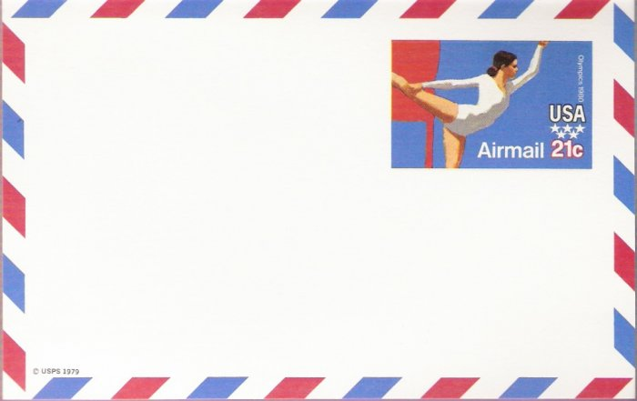 1979, US Scott UXC18, 21-cent Air Post Card, Olympic Gymnast, Mint