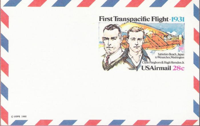 1981, U. Scott UXC19, 28-cent Air Post Card, First Transpacific Flight, Mint