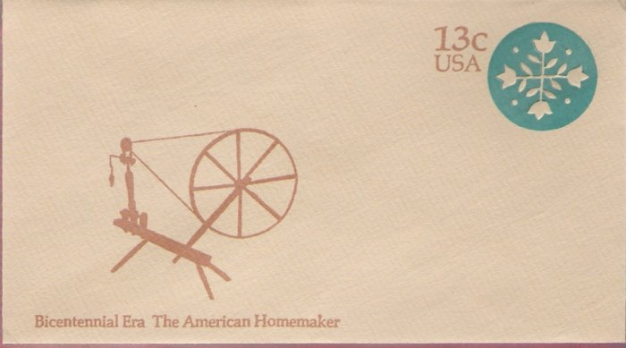 1976, US Scott U572, 13-cent Small Envelope 3.625 x 6.5 inch, Bicentennial Era  The American Hom